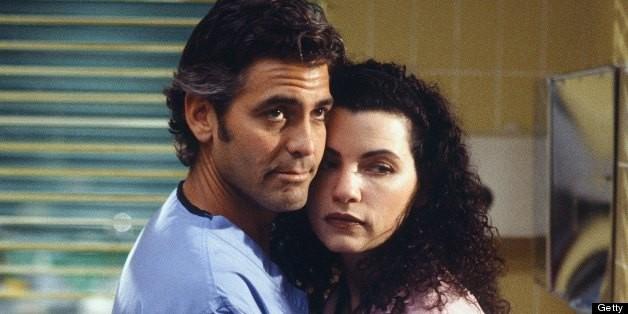 Julianna Margulies com George Clooney em ER (Foto: Divulgação)