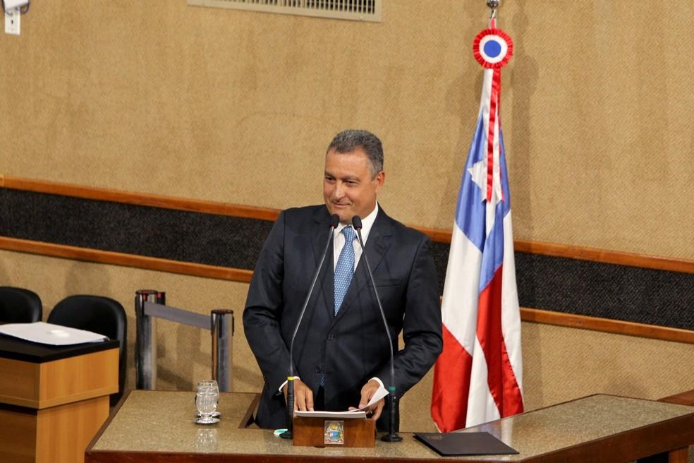 Governador Rui Costa (PT) toma posse na Assembleia Legislativa da Bahia, em Salvador — Foto: GOV/BA