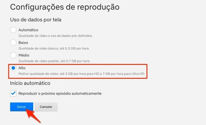Ação para ativar o modo de reprodução em alta qualidade em uma conta de usuário da Netflix (Foto: Reprodução/Marvin Costa)