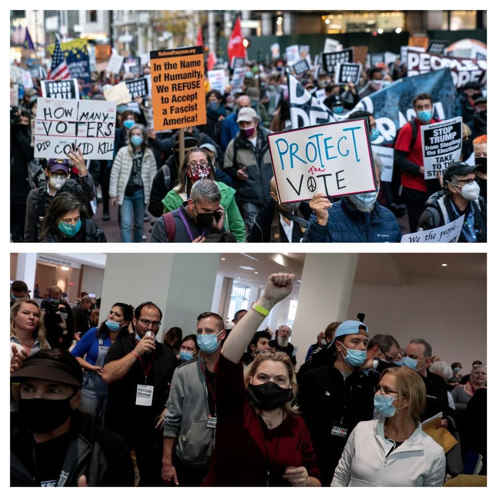 Montagem com imagens de Nova York, onde manifestantes pediram a contagem de votos, e Detroit, onde pessoas que apoiam Donald Trump tentaram interromper a contagem — Foto: Jeenah Moon e Rebecca Cook/Reuters