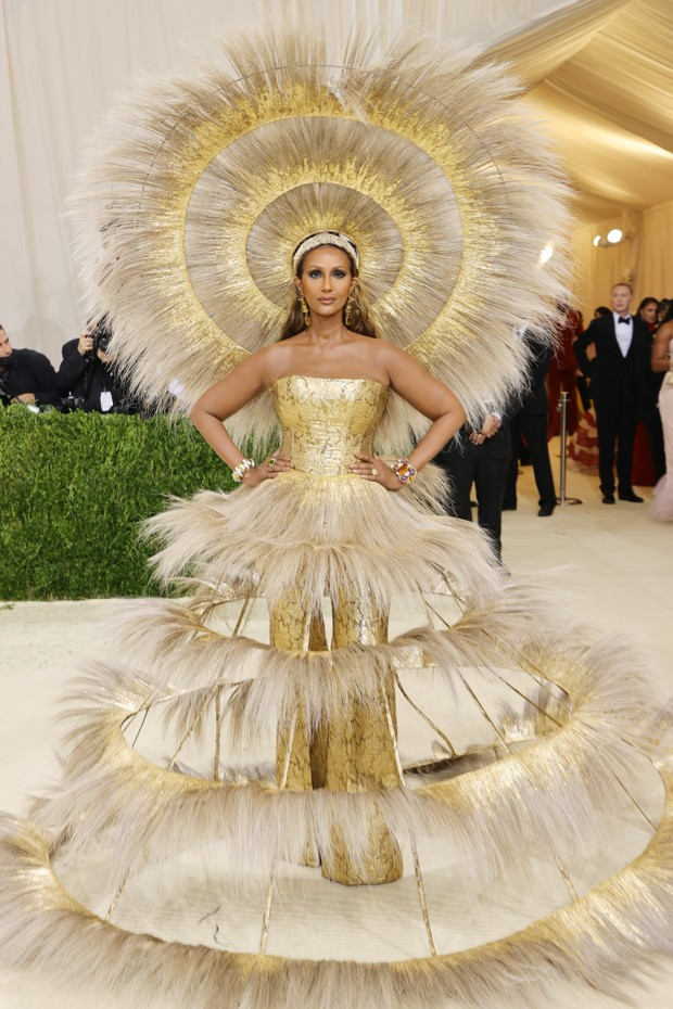 NEW YORK, NEW YORK - SEPTEMBER 13: Iman attends The 2021 Met Gala Celebrating In America: A Lexicon Of Fashion at Metropolitan Museum of Art on September 13, 2021 in New York City. (Photo by Mike Coppola/Getty Images) (Foto: Getty Images)