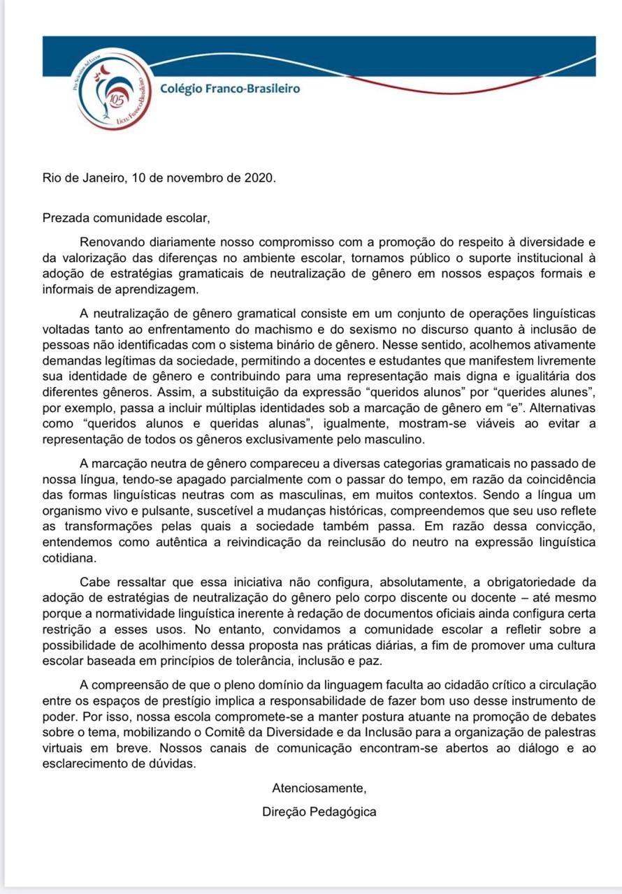 Documento do Colégio Franco-Brasileiro sobre mudança gramatical