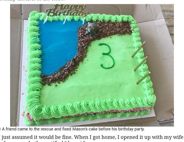 O bolo ficou um pouco melhor, mas nem de longe lembra um sapo (Foto: Reprodução Facebook)
