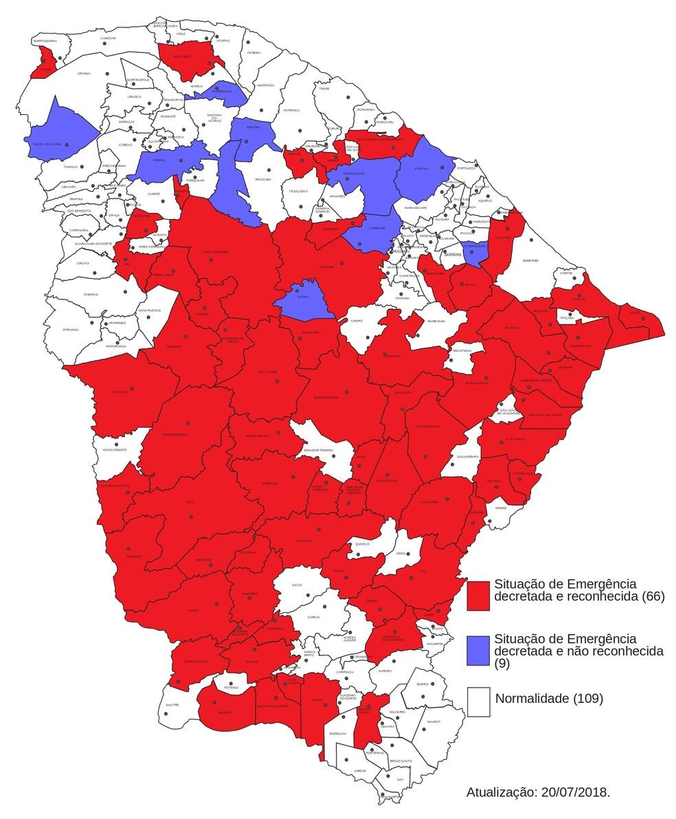 Situação dos municípios cearenses em julho de 2018 (Foto: Defesa Civil do Estado)