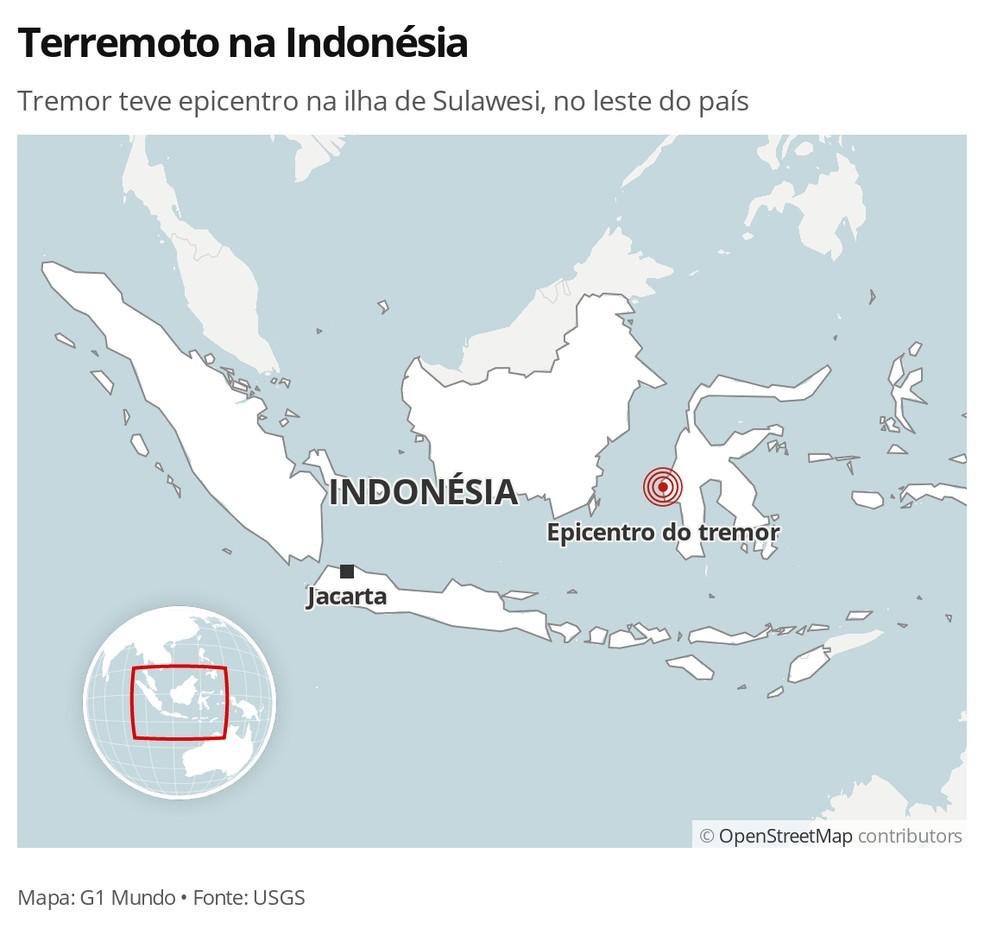 MAPA: Terremoto na Indonésia — Foto: G1 Mundo