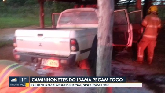 Duas caminhonetes do IBAMA pegam fogo dentro do Parque Nacional