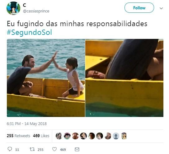 Internauta comenta aparição de homem escondido em cena de 'Segundo Sol' (Foto: Reprodução / Twitter)