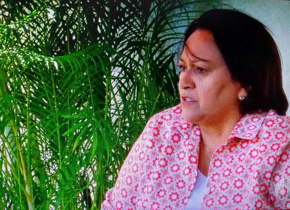 Fátima Bezerra (PT) promete pagar diárias operacionais em dia para garantir ações de segurança (Foto: Reprodução/Inter TV Cabugi)