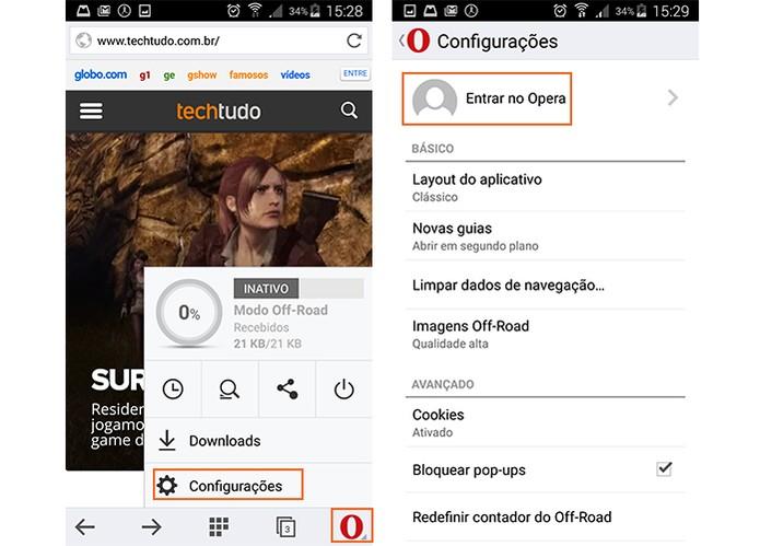 Acesse as configurações do Opera pelo celular (Foto: Reprodução/Barbara Mannara)