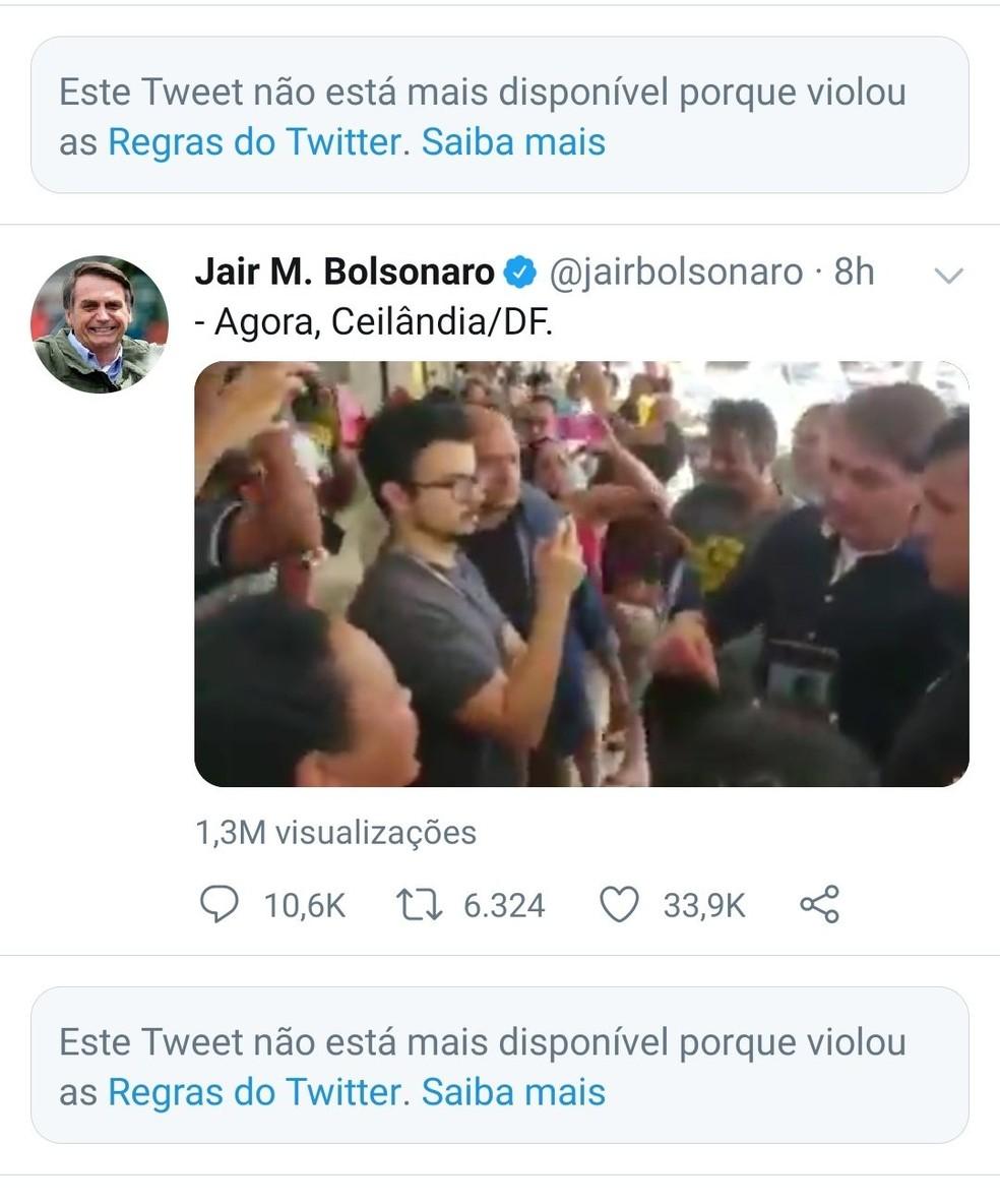Twitter apaga duas publicações de Jair Bolsonaro por violar regras da rede social — Foto: Reprodução/Twitter/jairbolsonaro