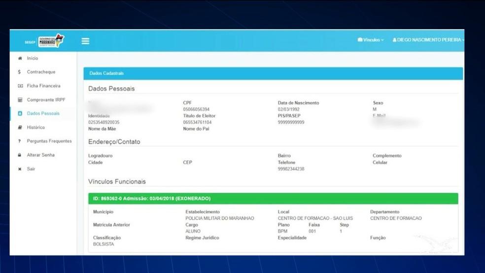 Site 'Portal do Servidor' alega que os candidatos aprovados no concurso da PM do Maranhão estão exonerados. — Foto: Reprodução/TV Mirante