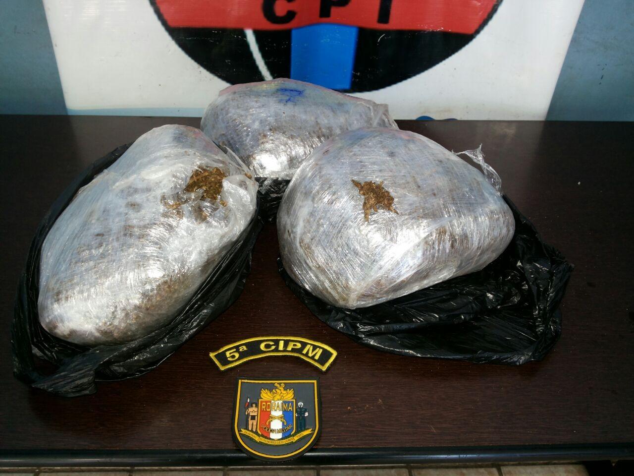 Homem é preso com 3 Kg de maconha no Bonfim, ao Norte de Roraima