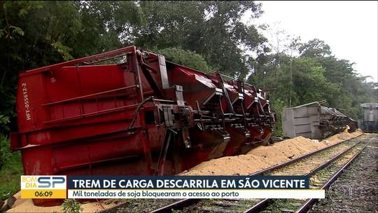 14 vagões carregados com mil toneladas de soja descarrilam em São Vicente