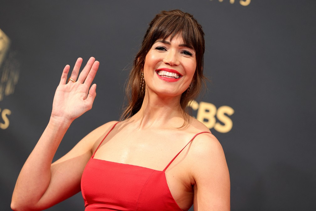 Mandy Moore chega ao Emmy 2021 — Foto: Rich Fury/Getty Images North America/Getty Images via AFP