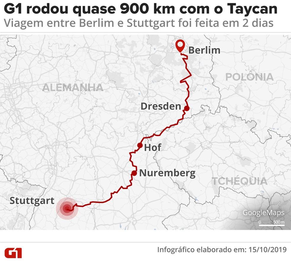 Mapa do test-drive do Porsche Taycan — Foto: Arte: Wagner Magalhães/G1