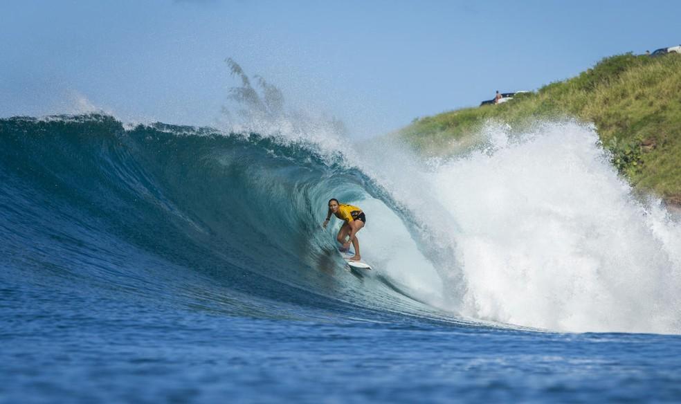 Carissa Moore esteve presente nas últimas 3 finais em Maui e venceu duas. Ano foi irregular e ela depende de combinação de resultados  (Foto: WSL)