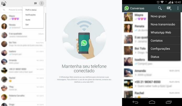 Interface do WhatsApp nas versões desktop e mobile (Foto: Reprodução/ Raquel Freire)