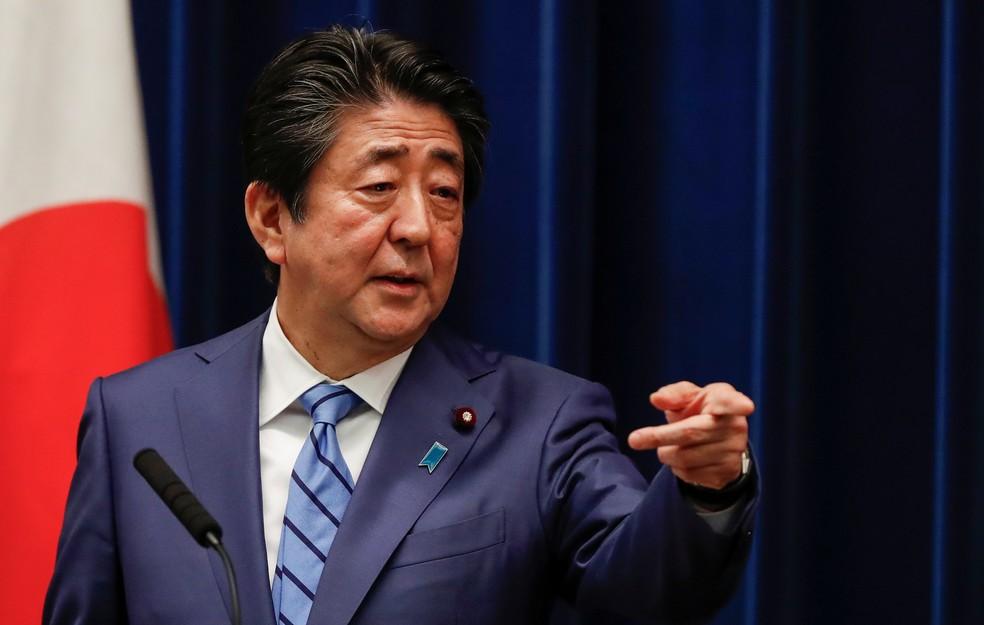O primeiro-ministro do Japão, Shinzo Abe — Foto: Issei Kato/Reuters