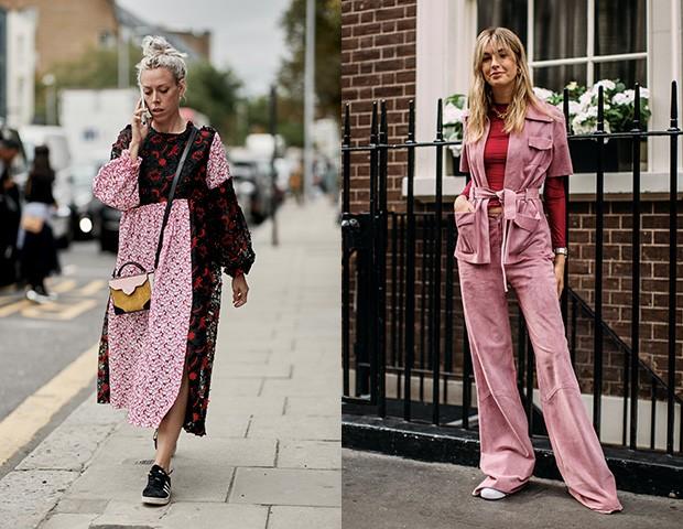 O vermelho e rosa no street style (Foto: Imaxtree)