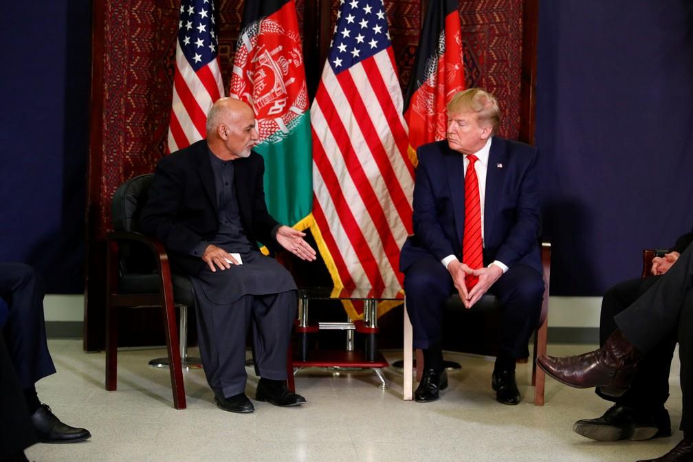 Donald Trump, presidente dos EUA, participa de encontro com presidente do Afeganistão, Ashraf Ghani, nesta quinta-feira (28) — Foto: Tom Brenner/Reuters