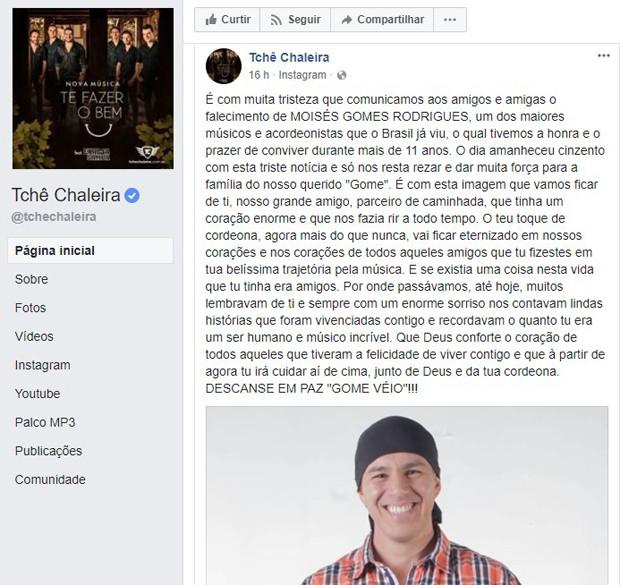 Grupo Tchê Chaleira lamenta morte de Moisés Gomes Rodrigues, conhecido como Gome (Foto: Reprodução/Facebook)