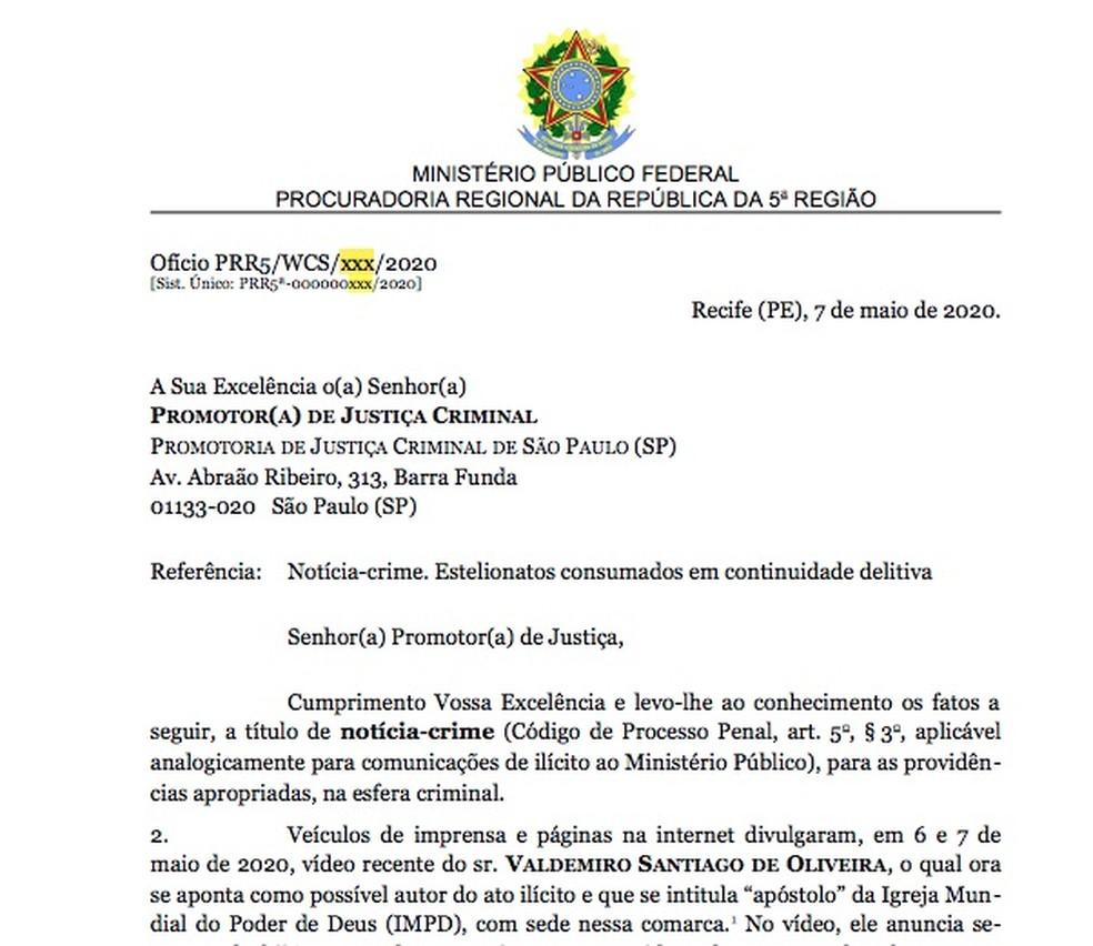 A notícia-crime do procurador federal Wellington Saraiva contra o pastor Valdemiro Santiago de Oliveira. — Foto: Reprodução