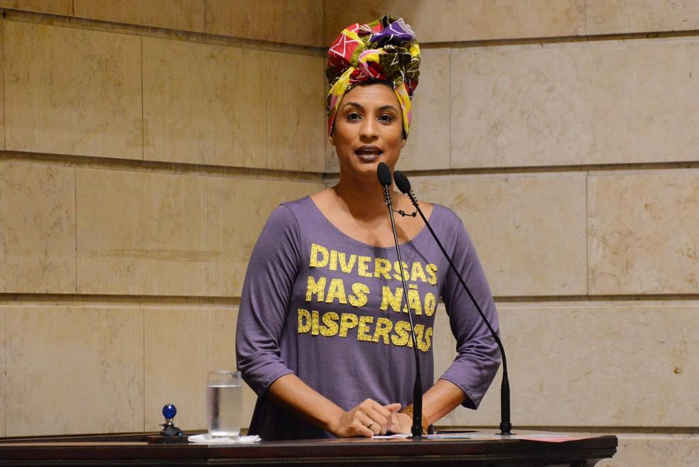 Marielle Franco, em foto de novembro de 2017 — Foto: Mario Vasconcellos/Câmara Municipal do Rio de Janeiro/AFP/Arquivo