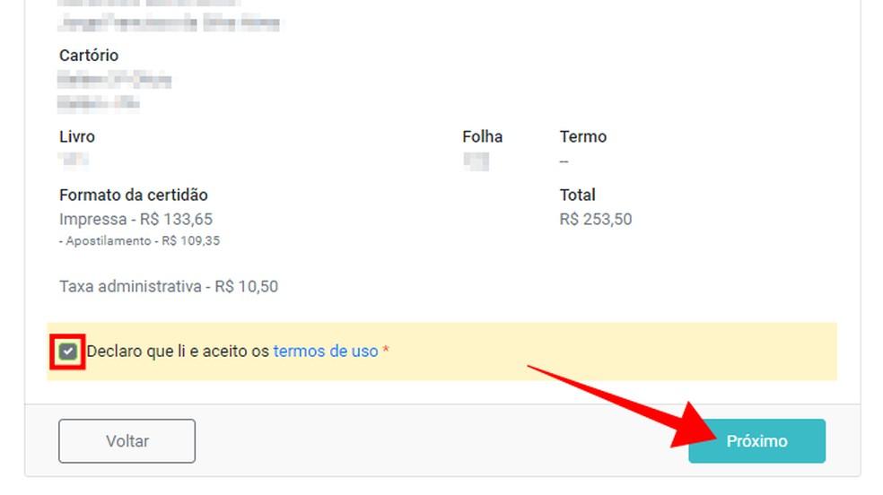 Revise os dados da solicitação — Foto: Reprodução/Paulo Alves