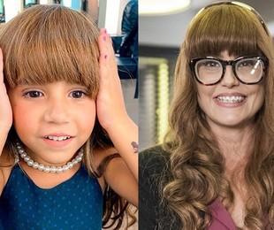 Maria Flor, filha da atriz, usou sua peruca nos bastidores de uma participação:'Ela está muito ansiosa para se ver na TV'   Reprodução