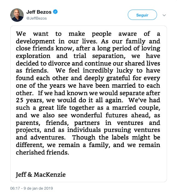 O comunicado no qual Jeff Bezos tornou público o fim de seu casamento de 25 anos (Foto: Twitter)