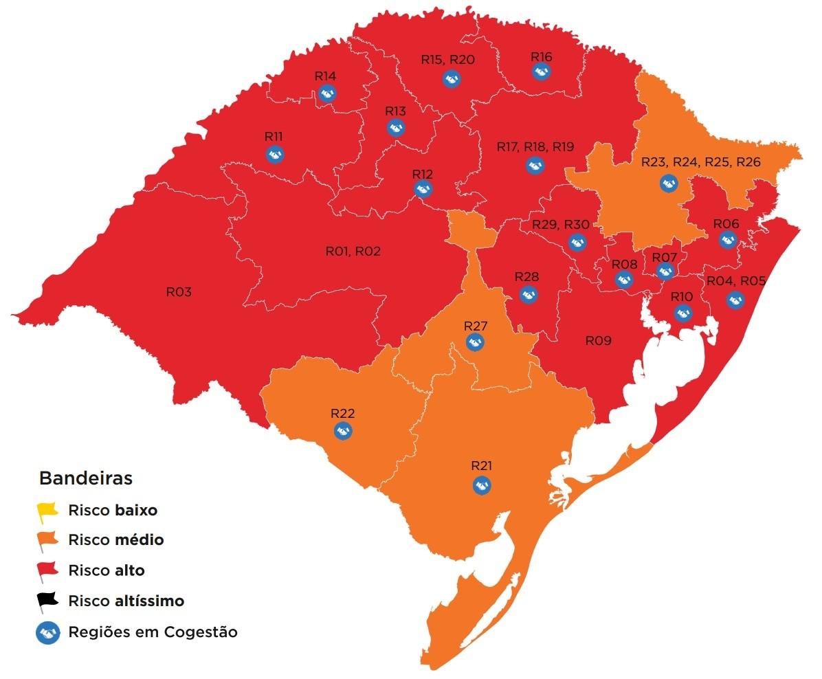Mapa preliminar do distanciamento controlado tem 17 regiões do RS em bandeira vermelha