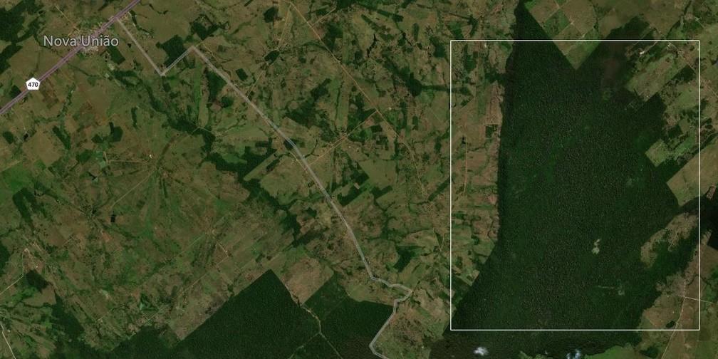 Área onde o incêndio afeta a reserva ambiental em Nova União.  — Foto: Bing Maps/Reprodução