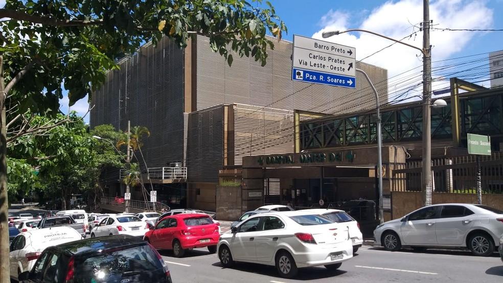 Hospital Mater Dei, no bairro Santo Agostinho, na Região Centro-Sul de Belo Horizonte — Foto: Alex Araújo/G1