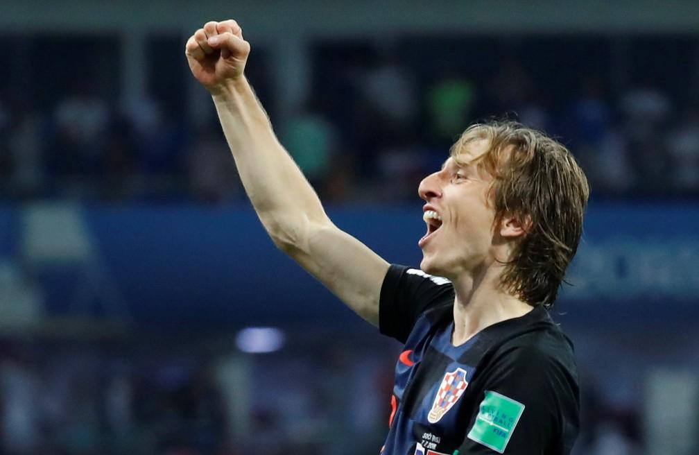 Modric celebra classificação para a final da Copa (Foto: Kai Pfaffenbach / Reuters)