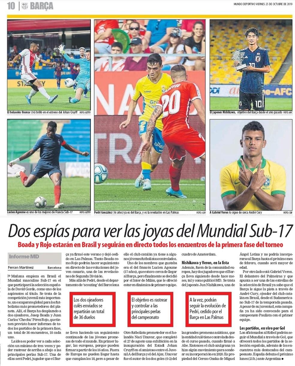 Mundo Deportivo Barcelona Gabriel Veron sub-17 — Foto: Reprodução/Mundo Deportivo
