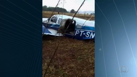 Avião com presidente da Faeg sai da pista ao pousar em São Luís de Montes Belos
