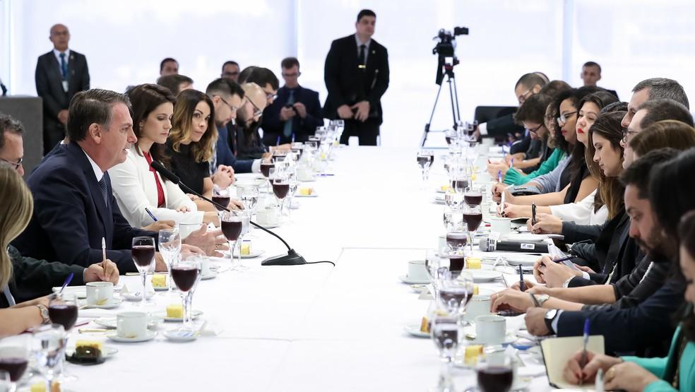 O presidente Jair Bolsonaro na manhã desta sexta-feira (14) durante café da manhã com jornalistas no Palácio do Planalto — Foto: Marcos Corrêa/Presidência da República