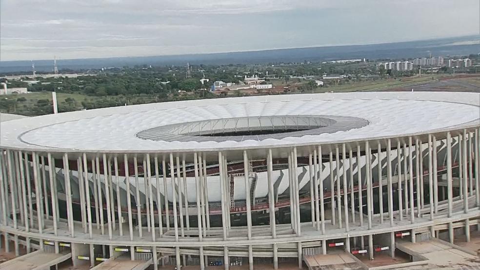 Estádio Mané Garrincha em imagem aérea de fevereiro de 2018 (Foto: TV Globo/Reprodução)