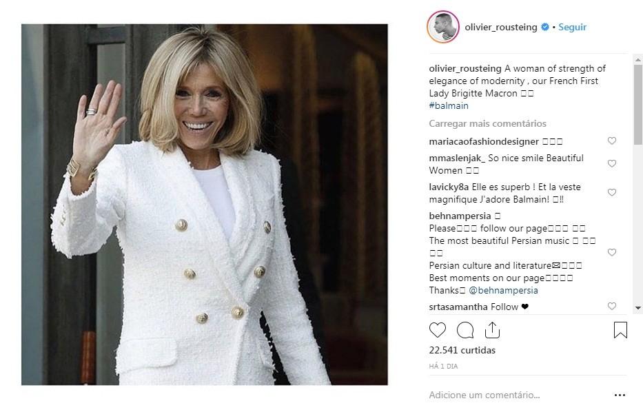 Brigitte Macron, de Balmain (Foto: Reprodução/Instagram)
