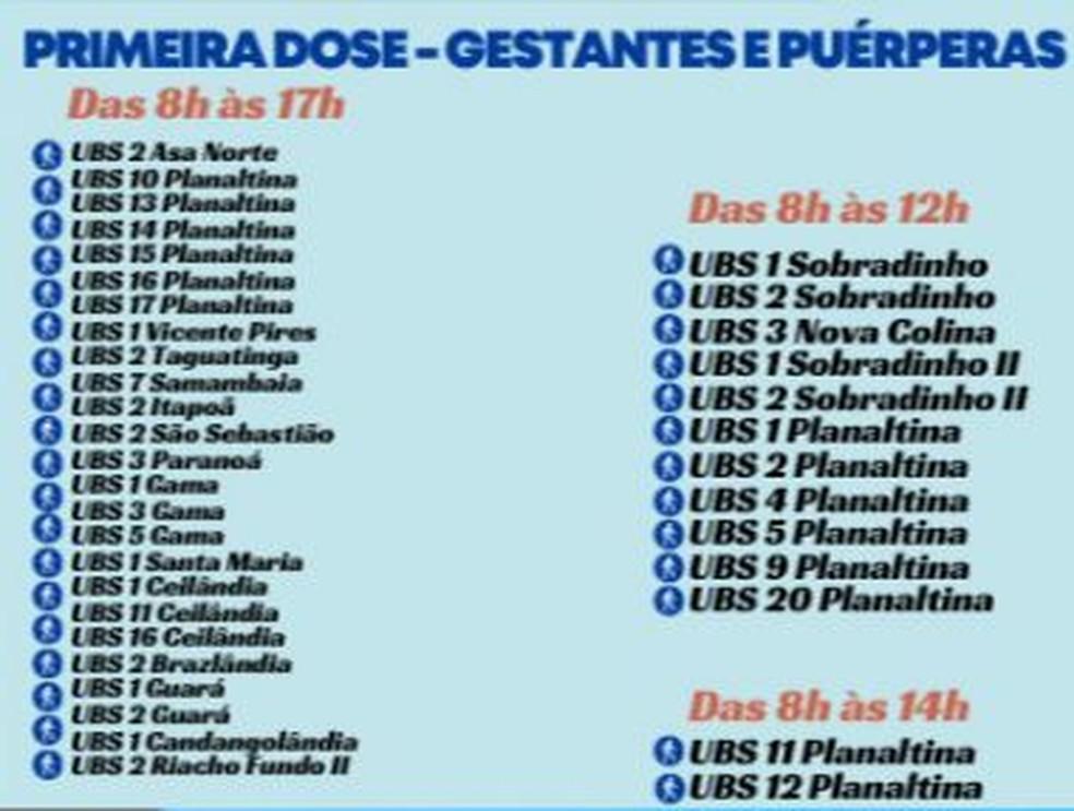 Postos de vacinação para gestantes e puérperas nesta quarta-feira (13) — Foto: SES-DF/Divulgação