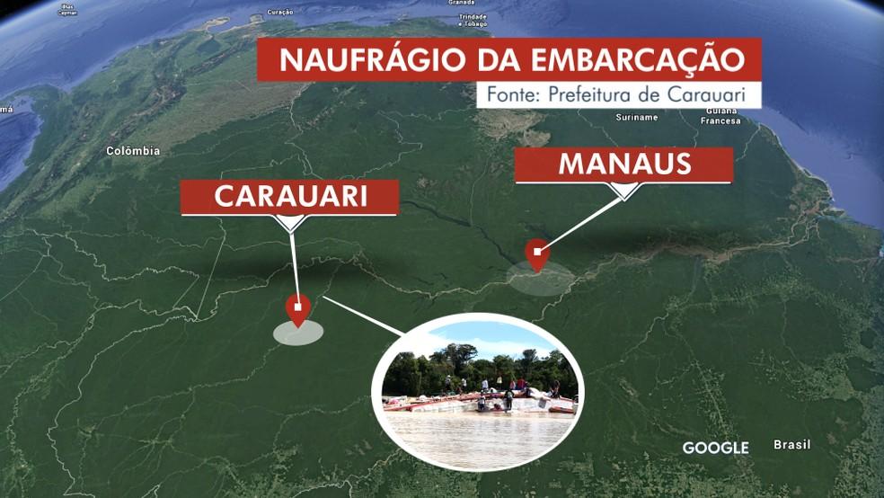 Naufrágio de barco com 97 pessoas ocorreu em Carauari — Foto: Rede Amazônica