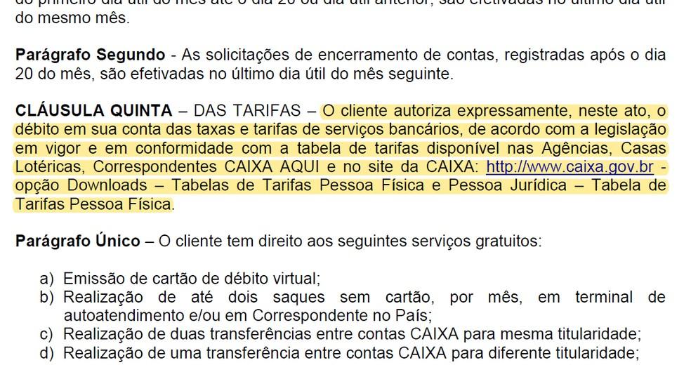Contrato de prestação de serviços da Caixa — Foto: Reprodução
