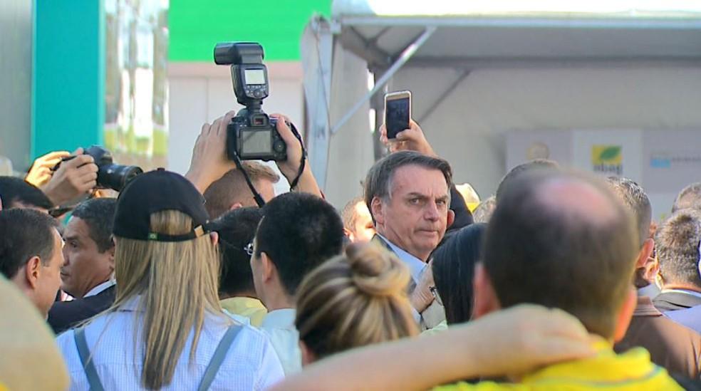 O presidente Jair Bolsonaro na Agrishow, feira de tecnologia para o campo, em Ribeirão Preto, SP — Foto: Reprodução/EPTV