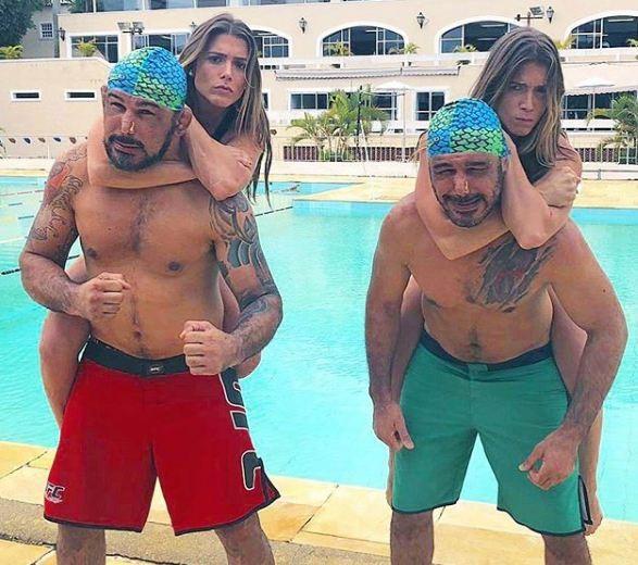 Bia e Branca Feres com Rogério Minotouro e Rodrigo Minotauro (Foto: Reprodução/Instagram)