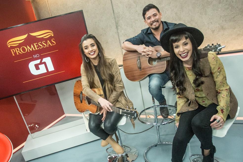 -  Isadora Pompeo e Marcela Taís se apresentam no G1 Promessas  Foto: Fábio Tito/G1
