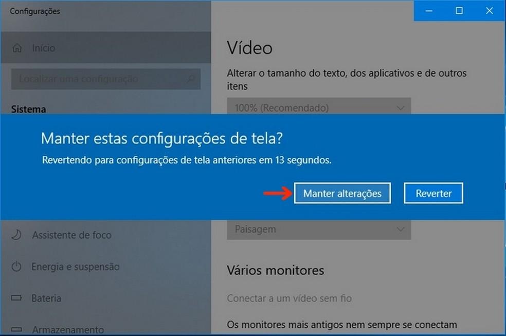 Confirmação da configuração do modo paisagem no Windows — Foto: Reprodução/Raquel Freire