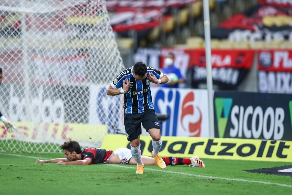 Pepê comemora gol contra o Flamengo — Foto: Lucas Uebel/Grêmio
