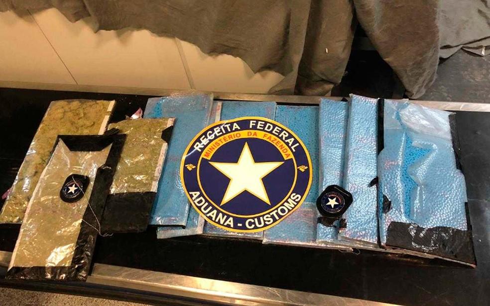 Mais de 50 mil comprimidos de ecstasy e 1 kg de skank foram apreendidos no aeroporto de Salvador — Foto: Divulgação/Receita Federal