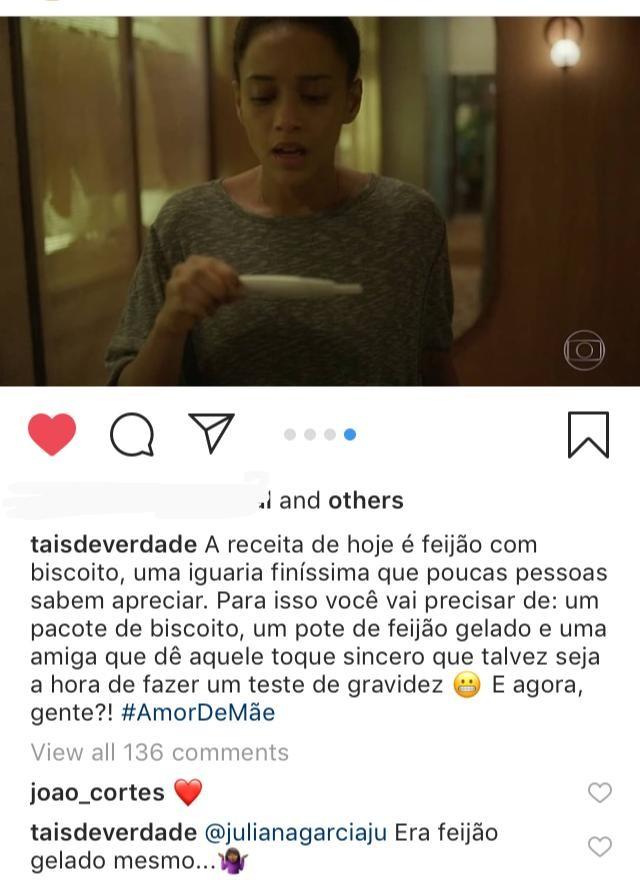 """Taís Araújo posta cena de """"Amor de Mãe"""" e revela que comeu feijão gelado (Foto: Reprodução/ Instagram)"""