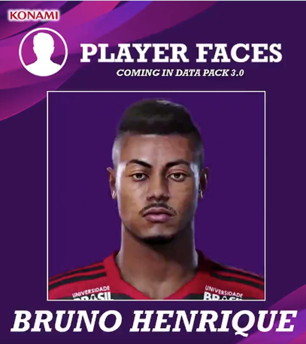 Bruno Henrique com face atualizada no data pack 3.0 do eFootball PES 2020 — Foto: Reprodução
